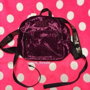VS PINK Crushed Velvet Mini Backpack